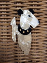 Terrier Dog Brooch ( Gold Dot Collar Version)  SOLD  In Cream and Black by Lea Stein Paris
